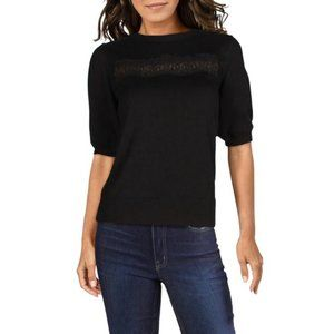 LAUNDRY BY SHELLI SEGAL | Black Knit Lace Sweater
